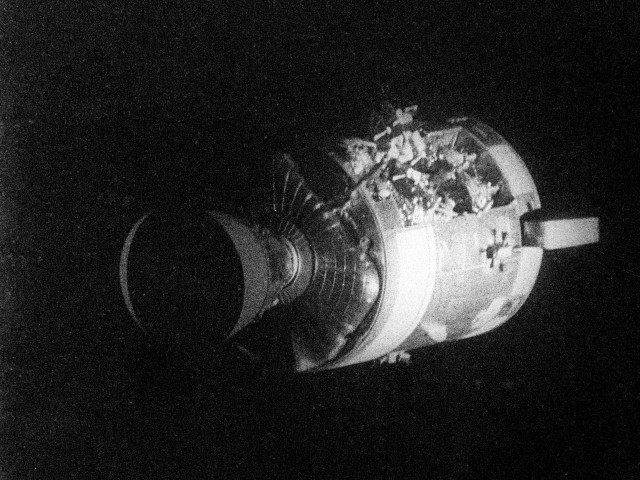 Severely damaged Apollo 13 Service Module